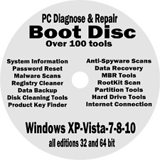 WINDOWS XP VISTA 7 8 10 PRO BOOT CD PC REPAIR RECOVERY DISC HP DELL ACER GATEWAY