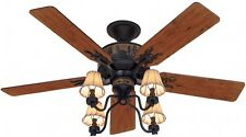 52-in Brittany Bronze 5-Blades Downrod Close Mount Indoor Ceiling Fan Light Kit