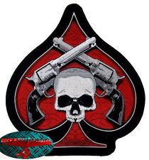 SKULL & Pistols ACE BACK PATCH grandi ricamate aufbügler Biker patch Harley Chopper