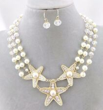 Pearl Starfish Trio Necklace Set Gold Crystal Rhinestone Fashion Jewelry NEW