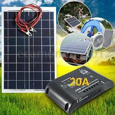 12V 30W Panel Solar Fotovoltaico SOLARE PANNELLO+4m Cable+Regulador 20A 12V/24V