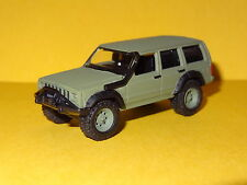 JEEP CHEROKEE OFF ROAD 4X4 ARMY GREEN 1/64 SCALE LIMITED EDITION REAL RUBBER PW