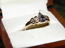 Beautiful 0.71ct AAA Tanzanite solitaire in a 9k yellow gold ring Size N