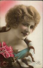 Beautiful French Woman 1920s Short Hair Lipstick Tinted RPPC LEO #937 #2 myn