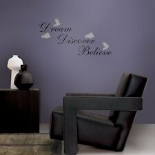 WORDS EXPRESSION DREAM BELIEVE DISCOVER QUOTE WALL DECALS Vinyl Wall Art Décor
