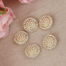 5Pcs Crystal Diamante Pearl Round Shank Buttons Embellishment Craft DIY 24MM