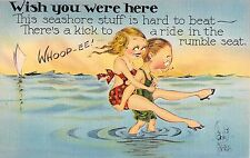 Comic postcard risque sexy girl There's a Kick to a ride in the Rumble Seat