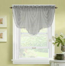 1pc BONITA GRAY VOILE SHEER VALANCE SWAG TOPPER WINDOW CRYSTAL BEADS FRINGE