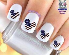 "RTG Set#633 COUNTRIES ""Mickey Ears USA Flag"" WaterSlide Decals Nail Art Transfer"