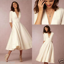 New Satin Vintage Short Half Sleeve Wedding Dress White/Ivory Bridal Gown Custom