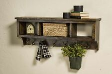 """Storage Wood cubby coat Rack 42"""" Wide With 3 Cubbies Wall Hanging Rack"""
