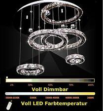75W Dimmbar LED 4 Ringe Kristall Deckenleuchte Deckenlampe Hängeleuchte Design