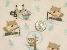 Fabric Beavers & Racoons Woodland on Cream Flannel 1 yard
