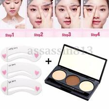 3 Color Eyebrow Powder Palette Cosmetic Makeup Shading Kit with Eye brow Stencil