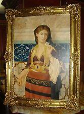 Antique Orientalist Lady Portrait Oil Painting Attr Charles E Hyppolyte L Vernet