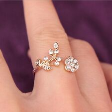 Elegant Women 14k Gold Plated Crystal Rhinestone Bridal Engagement Ring Size 7-8
