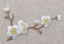 Iron On Patch Embroidered Applique WHITE Flowers Cherry Blossom Brown Stem Left