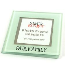 Set of 2 Personalised Our Family Glass Coasters space for photos Children Kids