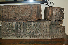 Set of 3 Antique 19th century carved wood Indian temple friezes,Rajasthan,c 1820