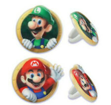 Super Mario Bros Luigi cupcake rings (24) party favor cake topper 2 dozen