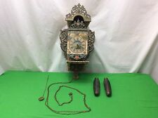 Antique Ornate Wall Clock w/ Mermaid Motif Metal & Wood Hand Painted Project