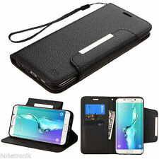 For Samsung Galaxy S6 Edge Plus + Leather Flip Wallet Case Cover Black
