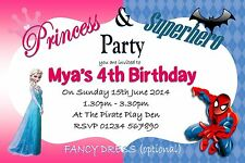 Personalised Party Invitations or thank you cards  x5 PRINCESS AND SUPERHERO