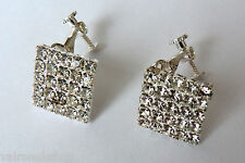 SUPERB SQUARE CRYSTAL CLIP ON EARRINGS (A3871) (bb2)