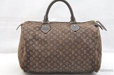 Auth Louis Vuitton Monogram Mini Lin Speedy30 Hand Bag Brown LV 26549