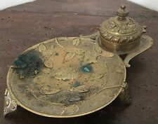 Encrier Empire Bronze Doré Napoléon III Ancien Inkpot French