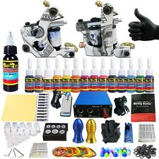 Complete Tattoo Kits 2 Tattoo Machine Guns Set 14 Ink Power Supply Grip TK203-17