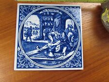 Delft Blue Hanging Hand-Painted Tile  Dutch  Scene, Used