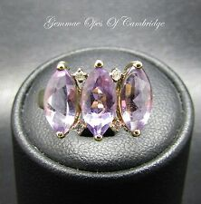 9ct Gold Marquise Amethyst and Diamond Trilogy Ring Size K 2.35g