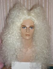 Drag Queen Party Wig White Blonde Big Long Teased Frizzy Curls Mens Victorian