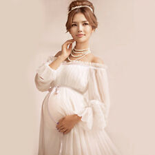 White Pregnant Long Women Dresses Maternity Photography Props Clothing