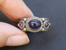 Solid Adjustable Tibetan 3-color Copper Amethyst Garnet 3 Gemstone Dotted Ring