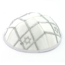 KIPPAH with Star of David Design. . . . . white satin Yarmulke Kippa Kipa Israel
