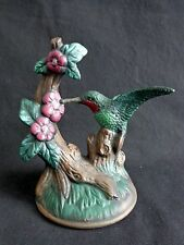 "Hummingbird Figurine 5.5"" Ceramic Hand Painted Green Brown"