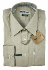 New BARBOUR Solid Beige All-Weather Flannel Cotton Casual Shirt L NWT $149!