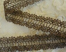 """ANTIQUE LOOK METALLIC OLDE GOLD 7/8""""  LACE DOUBLE BORDER - BEADING FOR RIBBON"""
