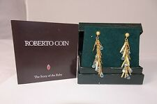 Roberto Coin 18K Gold & Blue Topaz Earrings Mint Condition w Box