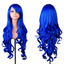 80CM Fashion Women's Long Curly Hair Wigs Lady Cosplay Dark Blue Curly Hair Wigs