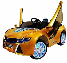 Toddler Ride On Toys Automobile BMW 12V Battery Remote Control Music Lights Gold