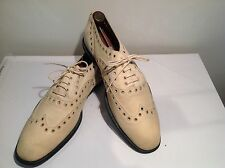 DRIES VAN NOTEN - BELGIUM - DISTRESSED MENS IVORY PERFORATED BROGUES (Size 10.5)