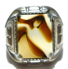 ANTIQUE NOUVEAU DECO OSBEE STERLING SILVER & AGATE SHIELD RING SIZE 7.25