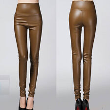 Sexy Lady Winter Women High Waist Slim Faux Leather Pants Warm Leggings Trousers