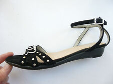 Ladies stylish CLARKS black/silver suede wedge sandals size 4 (Euro 37)