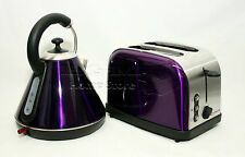 Purple Pyramid Style 1.8L Cordless Electric Kettle & Two Bread Slice Toaster Set