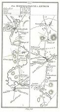 Antique map, Roads from Downpatrick to Antrim, Dungiven to Carrickfergus (1)