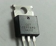 2  NEW CEPF640 , MOSFET N-CHANNEL TRANSISTORS TO-220, 200V,19A - Shiped from USA
